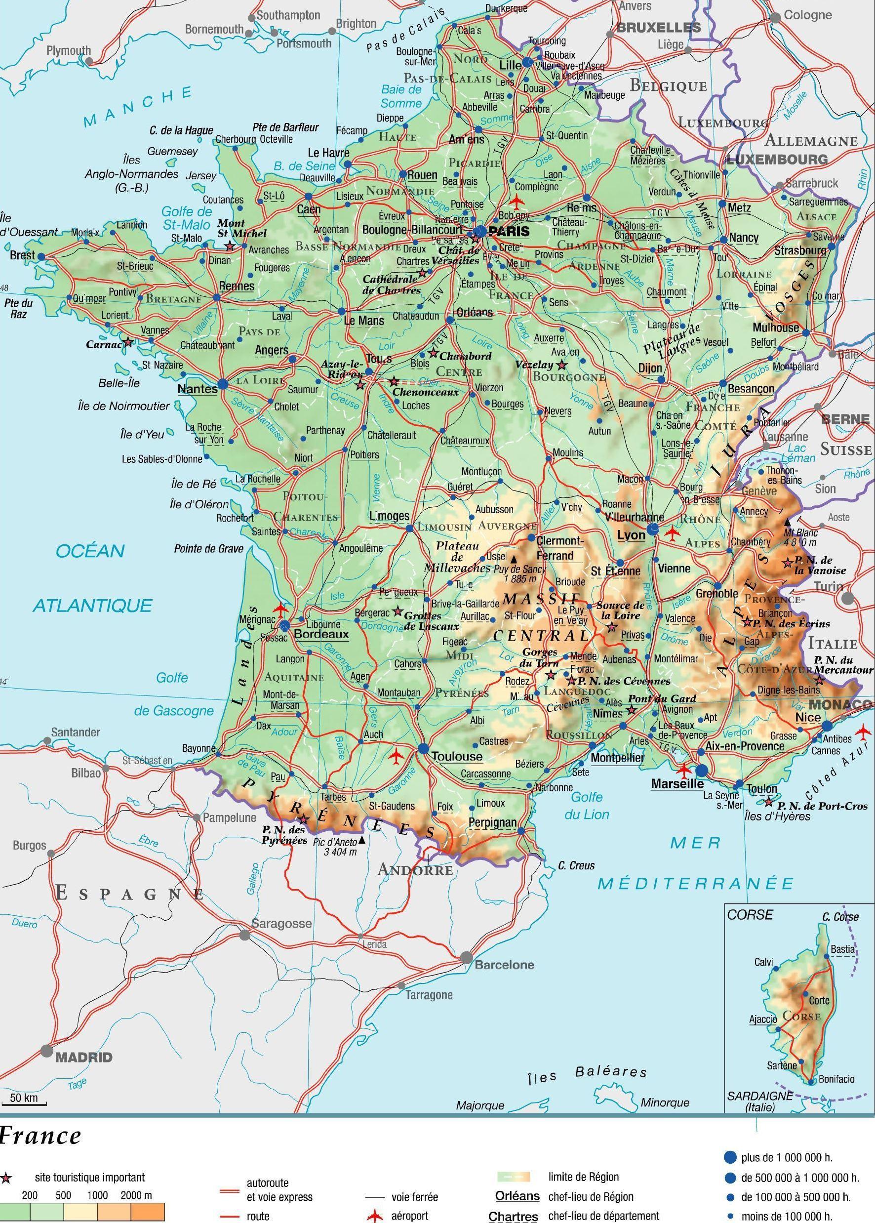Karta Francii Na Russkom Yazyke S Gorodami Franciya Na Karte Mira