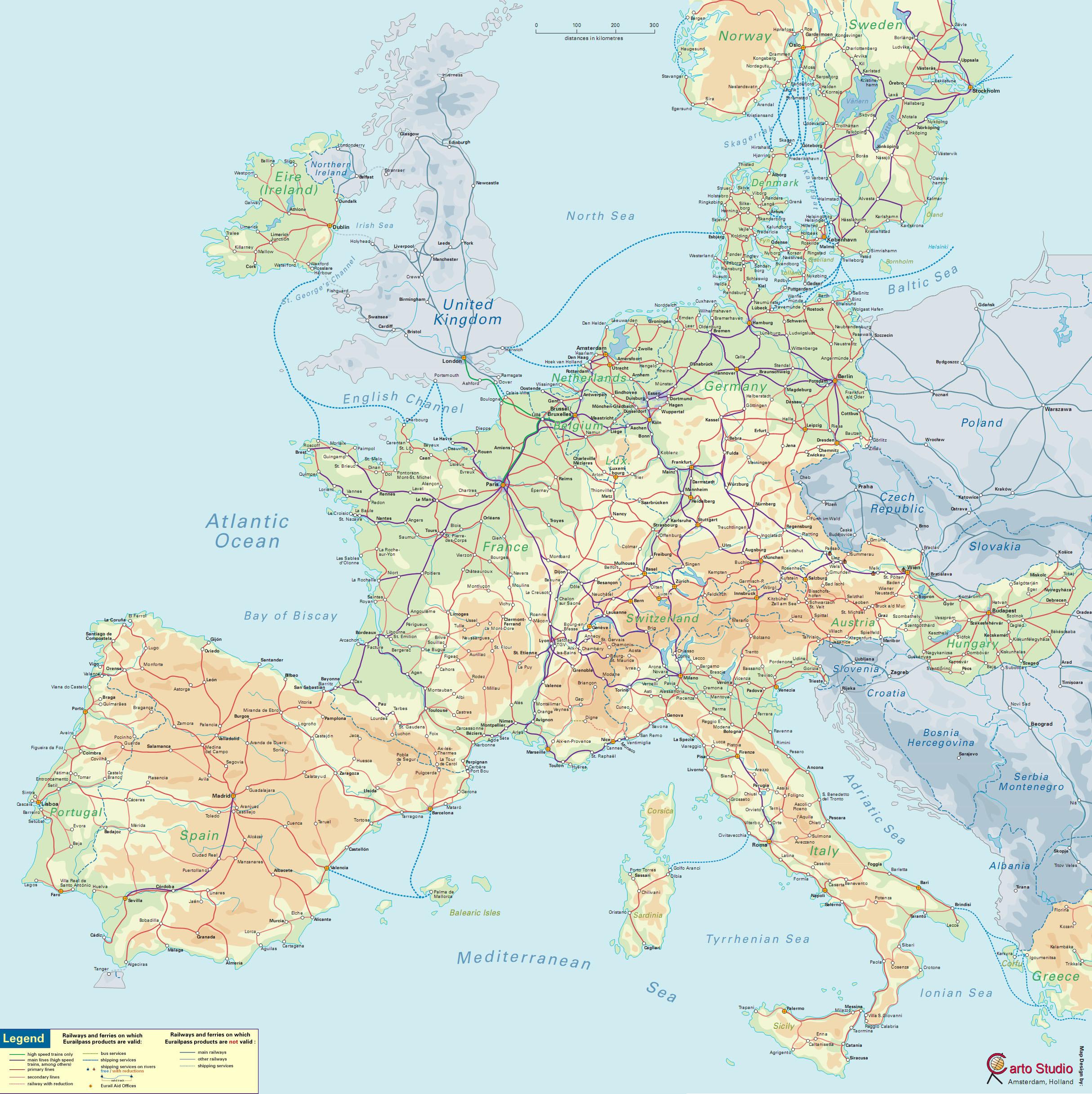 Podrobnaya Karta Evropy So Stranami I Stolicami Na Russkom Yazyke