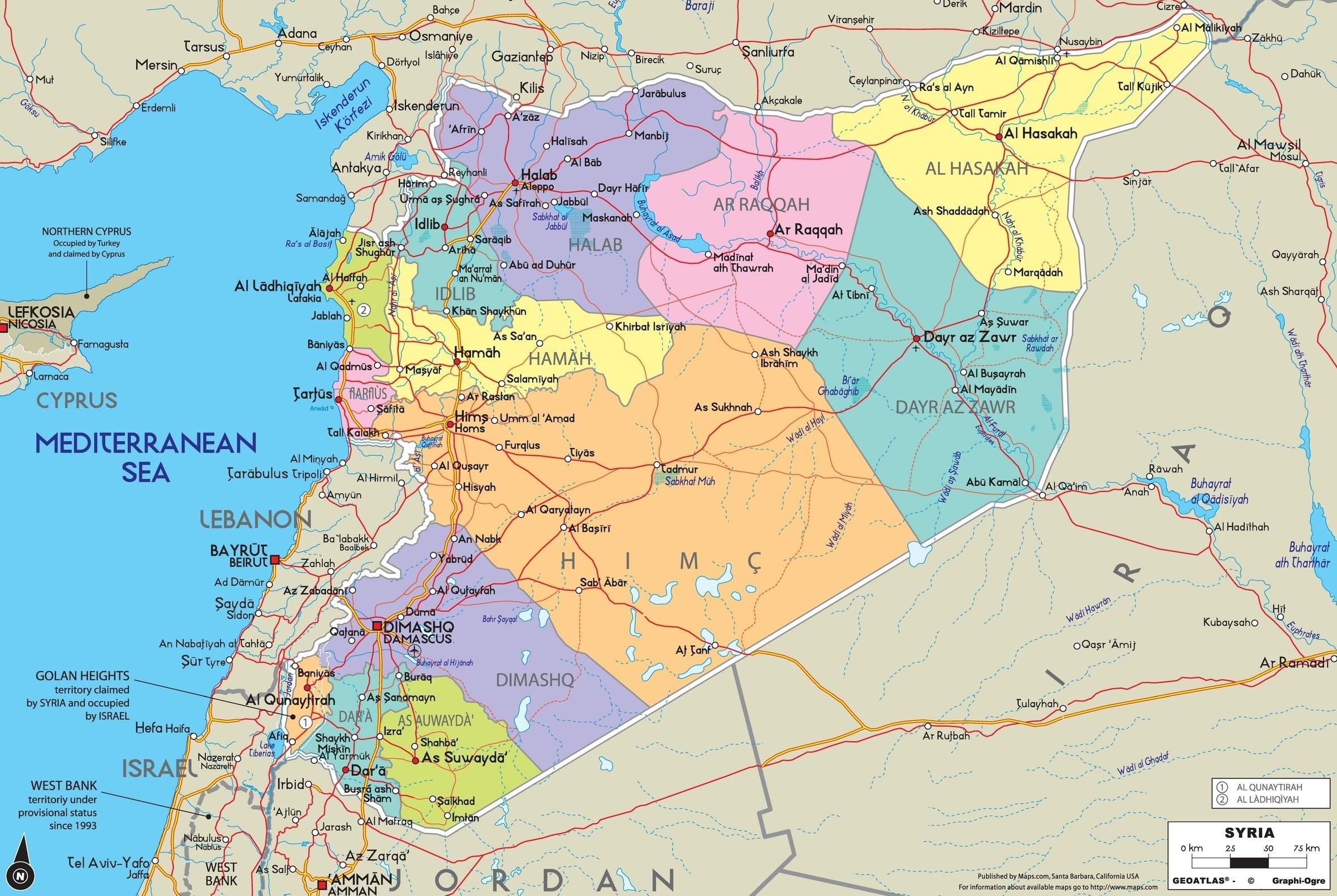 Karta Sirii 2020 Goda Na Russkom Yazyke Karty Boevyh Dejstvij V