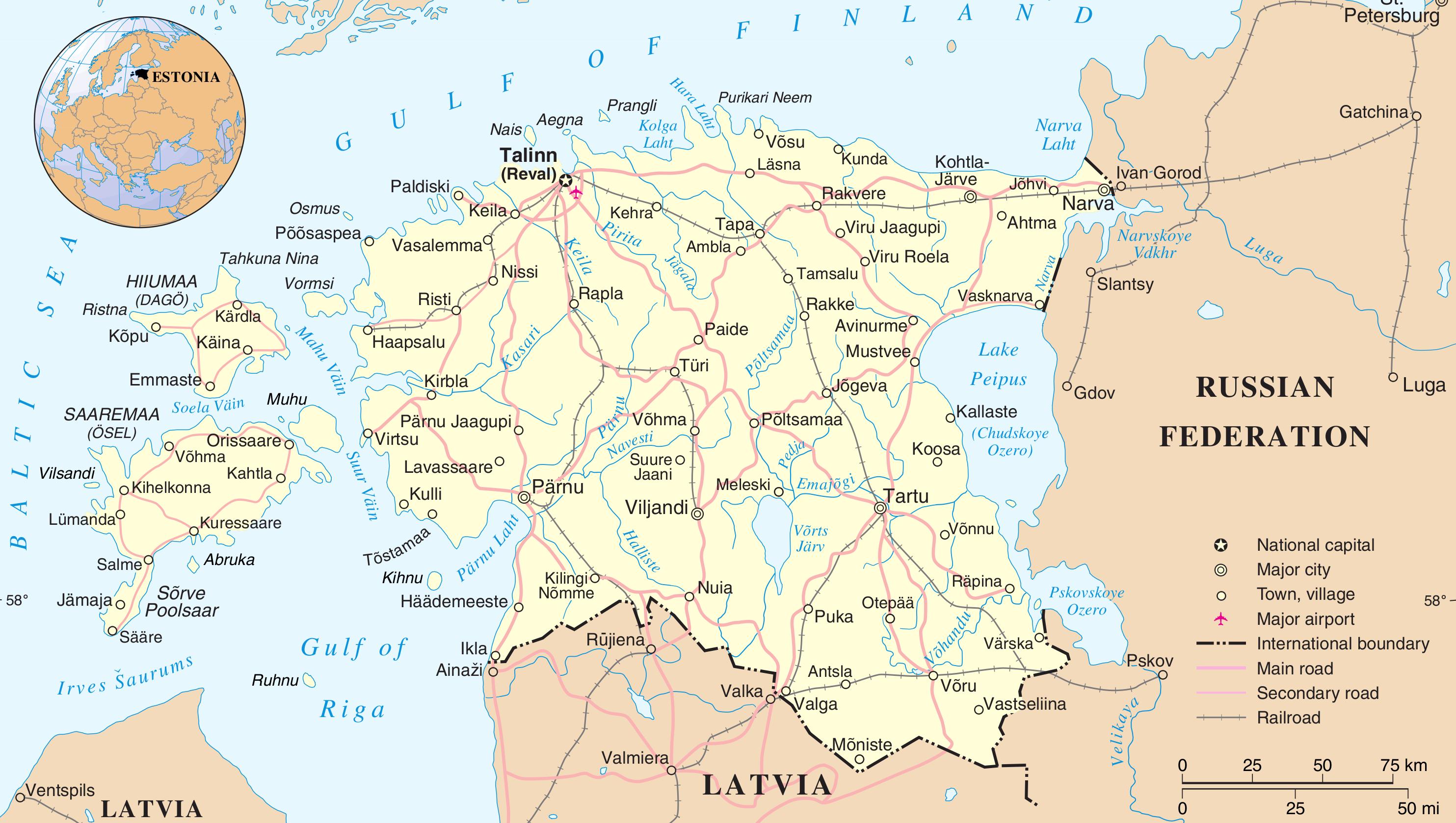 карта эстонии фото все необходимое одном