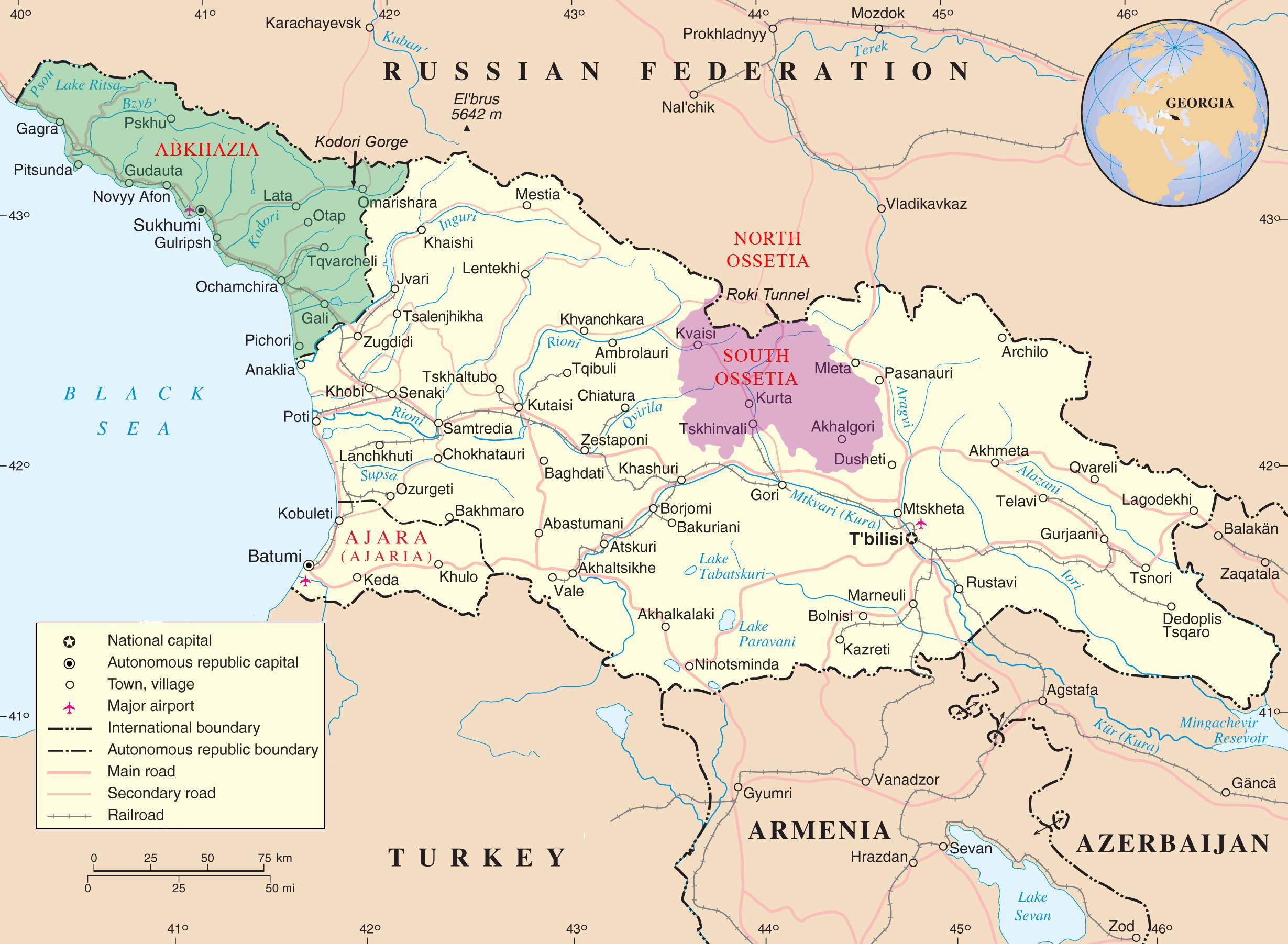 Karty Gruzii 2019 Goda Na Russkom Yazyke S Gorodami Kurorty Gruzii
