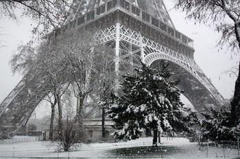 Эйфелеву башню в Париже закрыли из-за снегопада