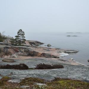 """Ботнический залив Балтийского моря. Многие прибрежные скалы выглажены ледником и неумолимым временем – они образуют ровные наклонные площадки — каменные языки (или """"бараньи лбы""""), сползающие в подводные глубины."""