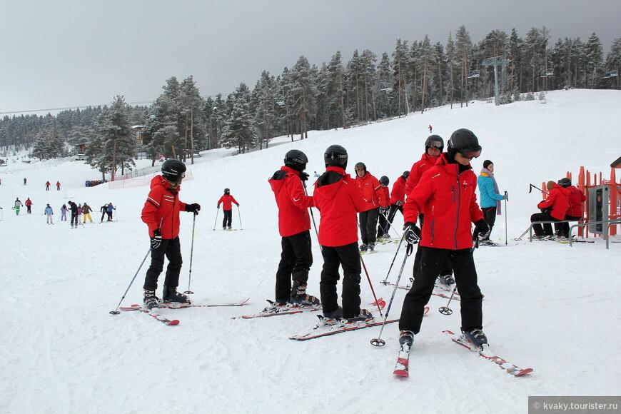 Таких красных групп лыжников было несколько