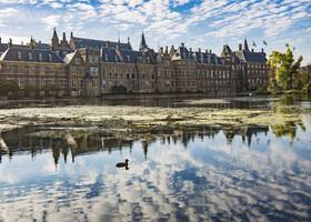 Старинный комплекс Бинненхоф (Binnenhof), выросший из охотничьего графского замка. В нем сосредоточена практически вся официальная власть Нидерландов. Здесь заседает парламент и работает правительство. От графских охот, собственно, остался только Рыцарский зал (Ridderzaal, 1252) – традиционное для Средних веков мрачного вида строение с острыми башенками.