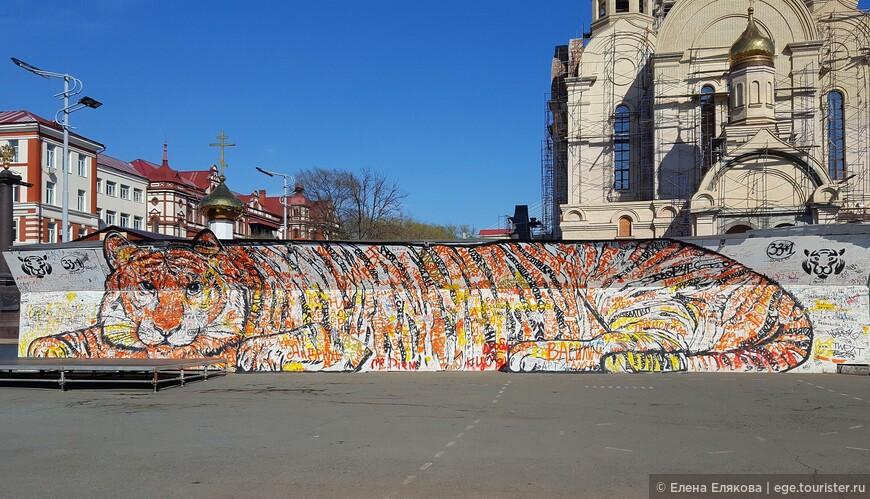 Амурский тигр на площади Борцов революции