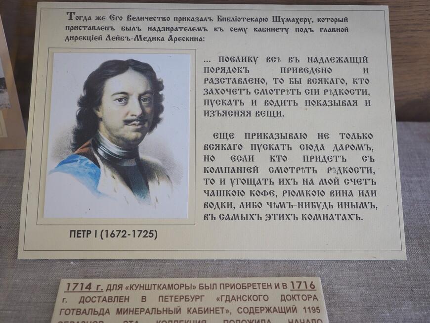 Стенд, посвященный основателю музея - Петру I.