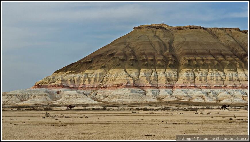 А вот и красавица Бокты. Гора необычайной раскраски и геометрической формы. О масштабе можно судить по неспешно шагающим верблюдам. Опять как в кино.