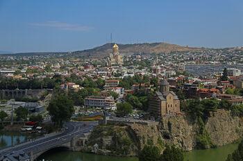 Вид на центр города и район Авлабари