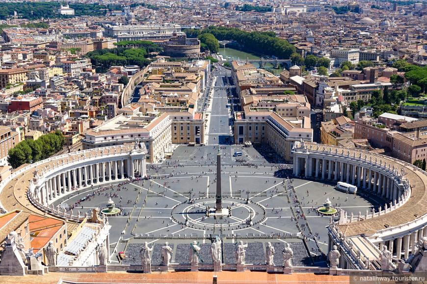 Вид на площадь Св. Петра с купола собора