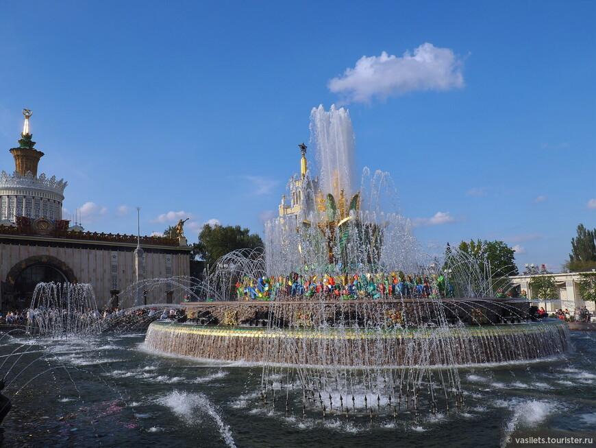 Перед павильоном Украина привлекает внимание фонтан «Каменный цветок» — второй по значению фонтан ВДНХ после «Дружбы народов». Основная идея, вложенная в художественный облик фонтана, — изобилие. Первоначально центральная чаша фонтана была увенчана композицией «Золотой сноп» в окружении 16 аллегорических фигур, персонифицирующих союзные республики.  Но в 1951 году эту пышную композицию решили положить в основу фонтана «Дружба народов». Пришлось золоченый сноп демонтировать и искать новое художественное решение, получилось то, что получилось.