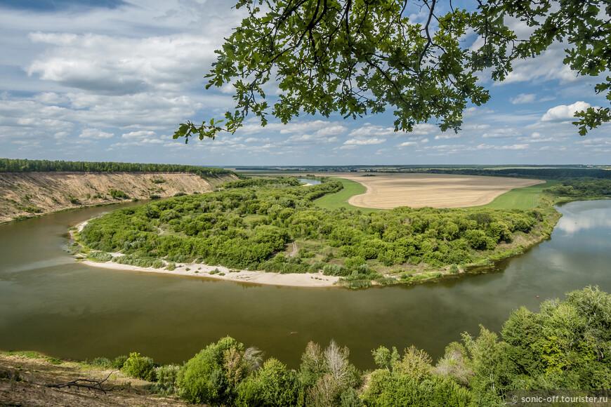 Противоположный берег пологий и низменный, поросший по берегу кустарником.