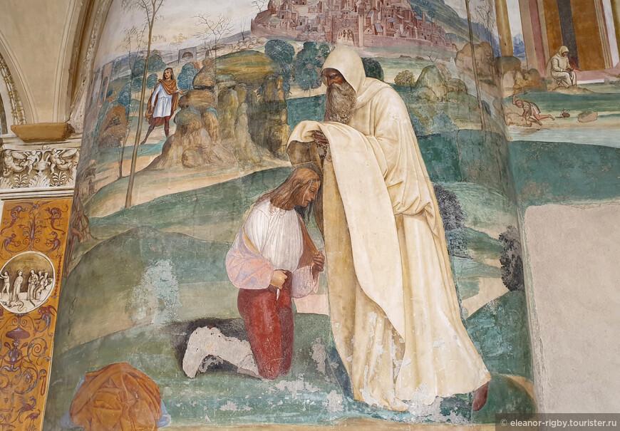 """""""... Когда Венедикт бежал, то на пути встретил его один монах по имени Роман, расспросил его, куда стремится, и, узнавши его желание, не только сохранил его тайну, но и оказал помощь - дал ему монашескую одежду и после доставлял все, что было нужно."""""""