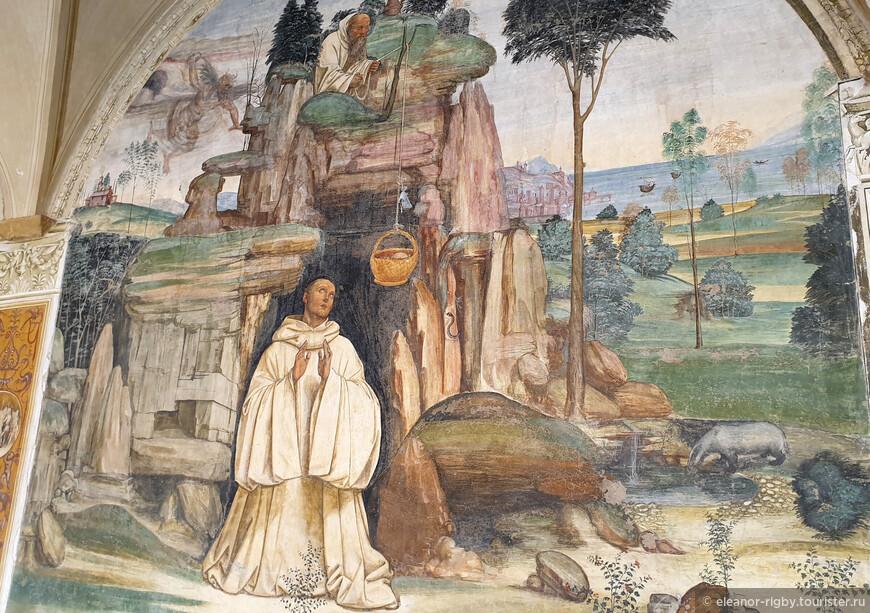 """В левом верхнем углу можно рассмотреть еще одного персонажа этой фрески, вот что о нем говорится в первоисточнике: """"Только однажды исконный враг, завидуя любви одного и утешению другого, когда привязан был хлеб к верви, бросил в нее камень и камнем оборвал ее. Однако ж Роман не переставал служить Венедикту, сколько было можно."""""""