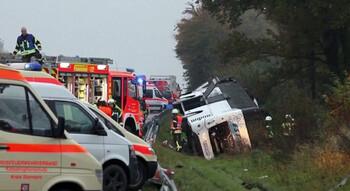 Автобус с туристами попал в ДТП в Германии: 32 раненых