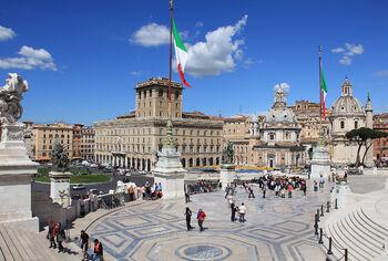 Флаг Италии на площади Венеции