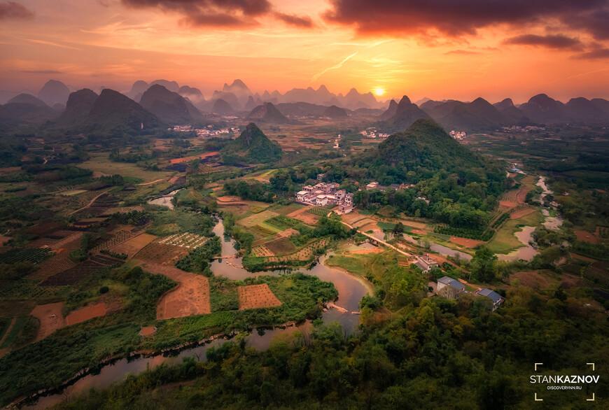 Закат с холма Cui ping