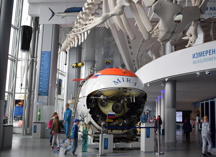 Скелет кашалота и аппарат «МИР» в Музее Мирового океана