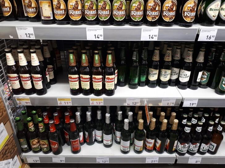 Цены на пиво в супермаркете Праги