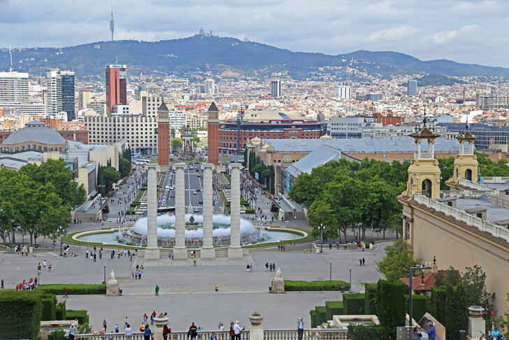 Площадь Испании со смотровой площадки Дворца Каталонии