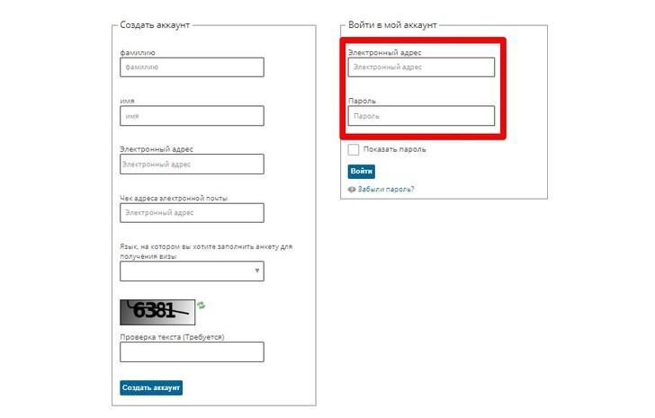 Пример заполнения анкеты на визу во Францию: вход в личный кабинет