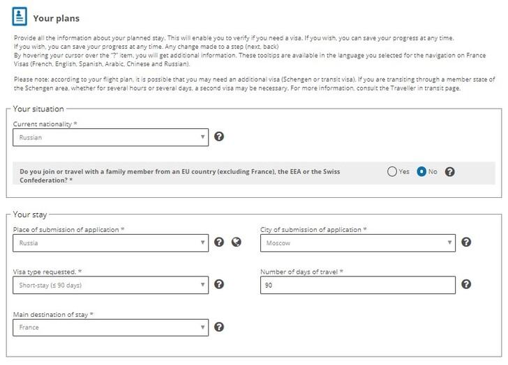 Анкета на подачу визы во Францию: заполнение раздела «Ваши планы»