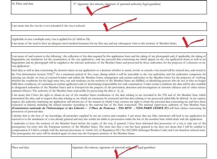 Образец: подписи в анкете на визу во Францию
