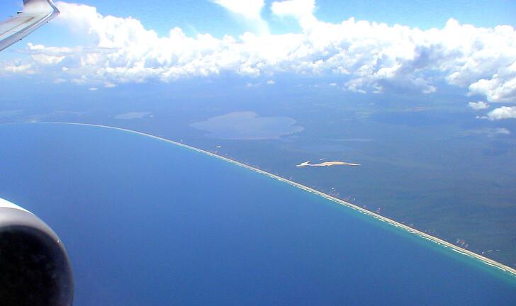Золотое побережье Австралии из окна самолета