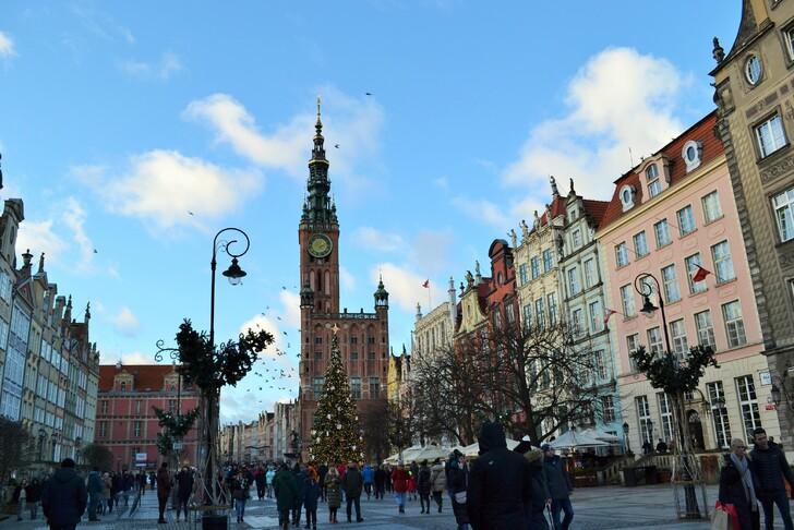 Площадь Длуги Тарг в декабре. Гданьск