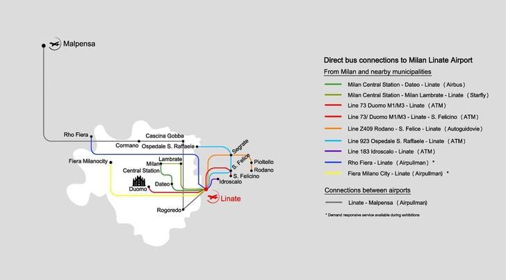 Схема автобусных линий до аэропорта Линате