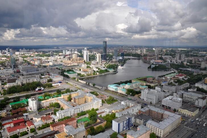 Вид на город со смотровой площадки БЦ «Высоцкий»