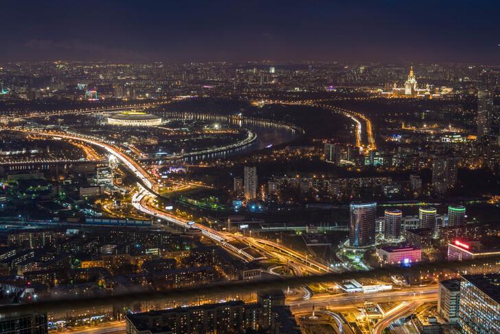 Вид со смотровой площадки Москва-Сити