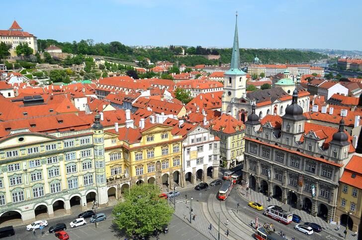 Вид на Прагу с колокольни костёла святого Николая
