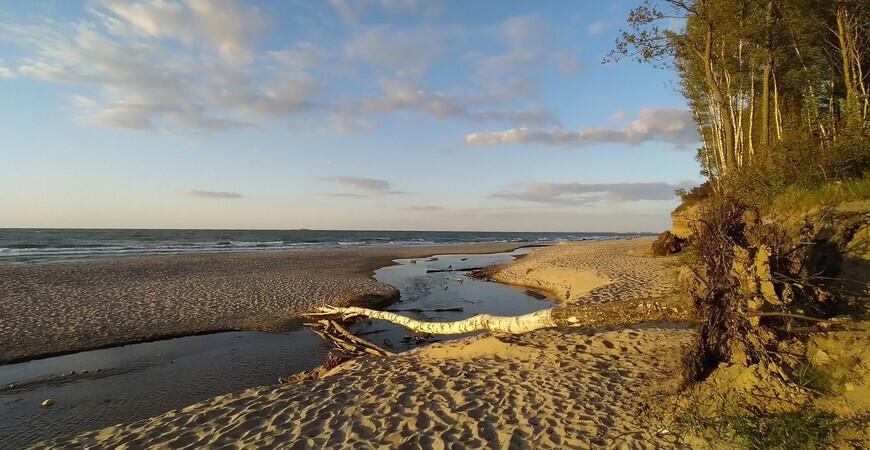 Пляж под ветряками в Куликово