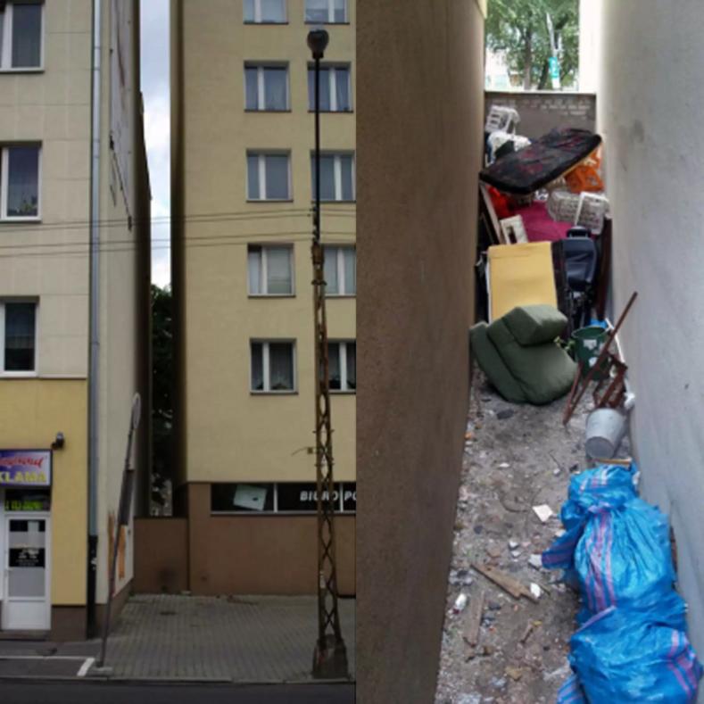 Фото внутри самого узкого дома, построенного в метровом проеме между высотками на месте мусорной свалки