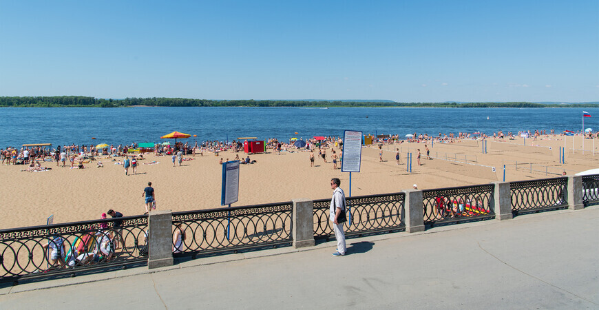 Центральный городской пляж Самары на набережной