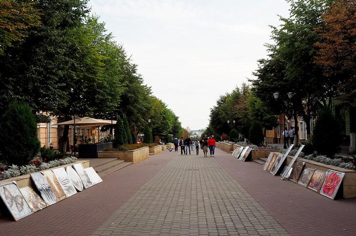 На улице Ленина продают свои работы местные художники