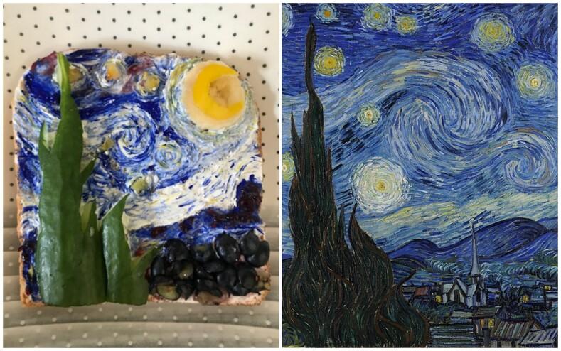 Картины известных художников из ветчины и сыра пользователи поделились фото бутербродов, которые они приготовили на завтрак,  и это настоящая фуд-галерея
