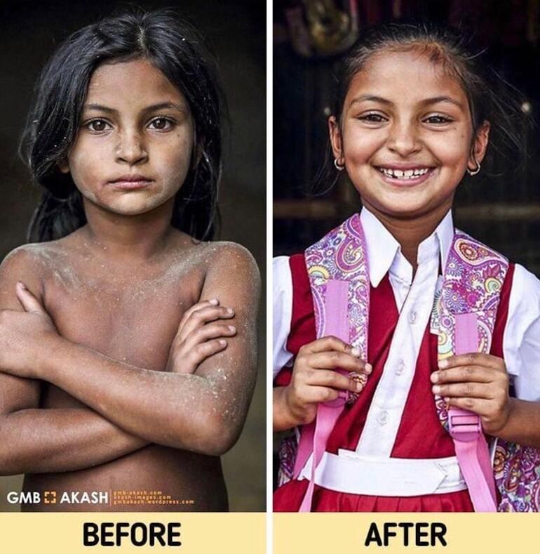 Как изменились лица мальчиков и девочек, которые смогли пойти в школу: фотограф оплатил обучение 20 детей из трущоб