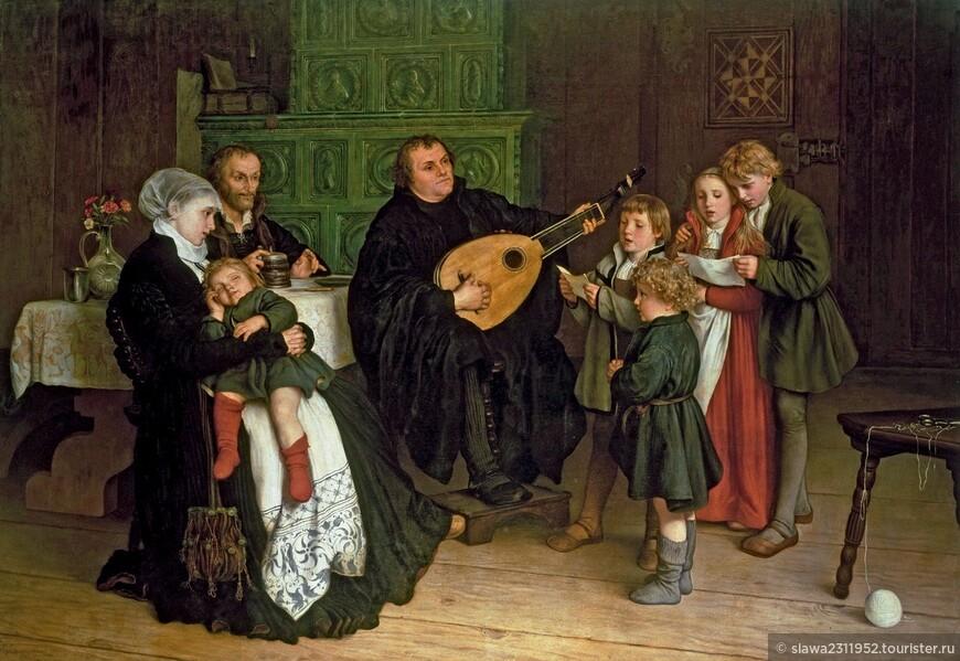 Мартин Лютер с детьми исполняют рождественскую мессу