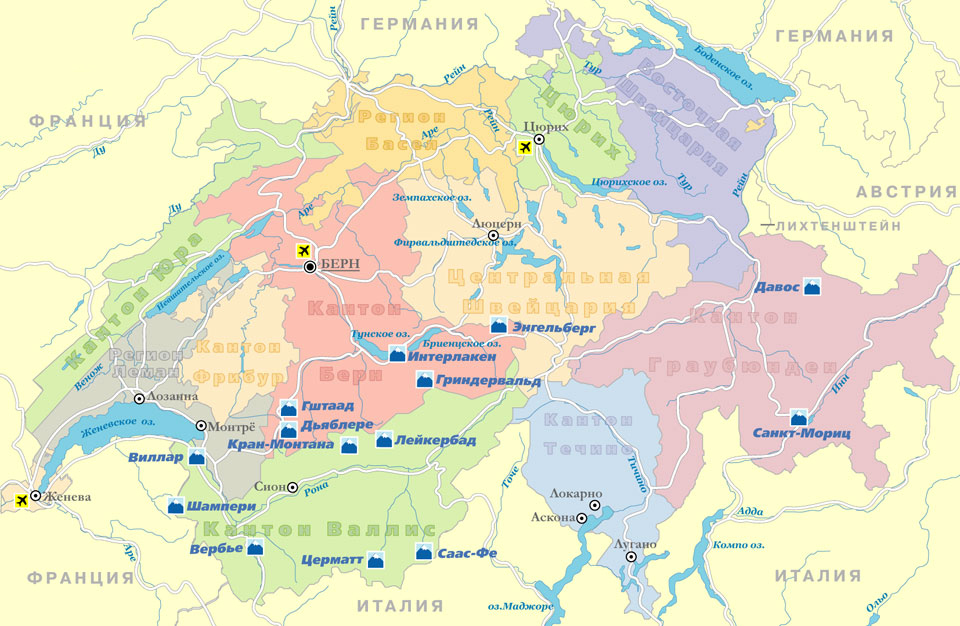 Карта схема швейцарии