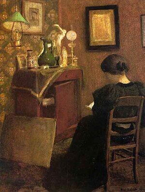 Читающая женщина, 1894. Фото из интернета. Подлинник: масло, холст, 61,5 x 48 см. Музей Матисса в Ле-Като-Камбрези, Франция