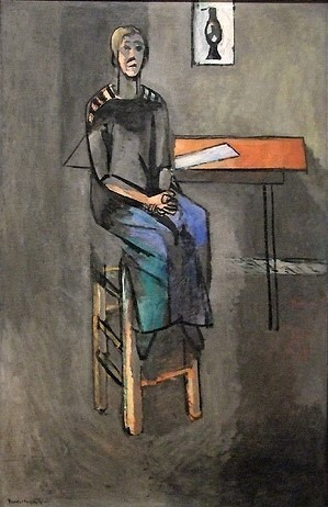 Женщина на высоком табурете (1914). Фото из интернета Оригинал: Холст, масло, 147 х 95,5 см. Музей современного искусства (МоМа), Нью-Йорк