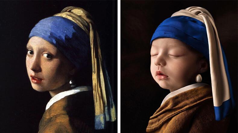 Ваш ребенок - произведение искусства: молодой папа из Бразилии устроил фотосессию для новорожденной дочери в образах женщин с картин великих художников