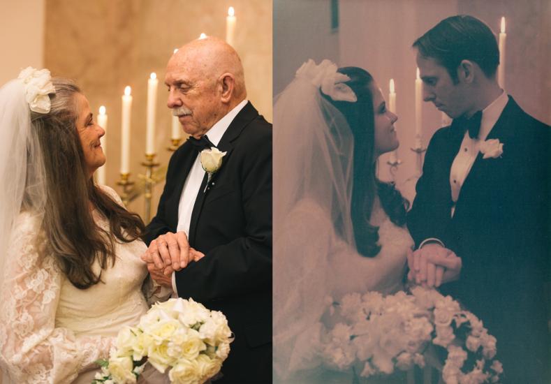 Пара повторила свадебные фото, сделанные полвека назад: 9 прекрасных снимков с разницей в 50 лет, доказывающих, что у любви нет срока годности