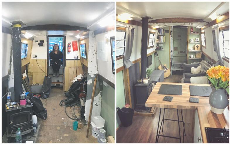 Влюбленные не стали брать ипотеку, а поселились в старой лодке, преобразив ее до неузнаваемости: фото до и после