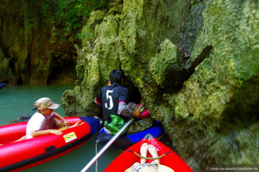 Катания на каное с морскими цыганами, вход в пещеру