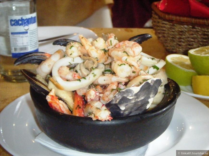 Блюдо с ассорти из морепродуктов, Чили