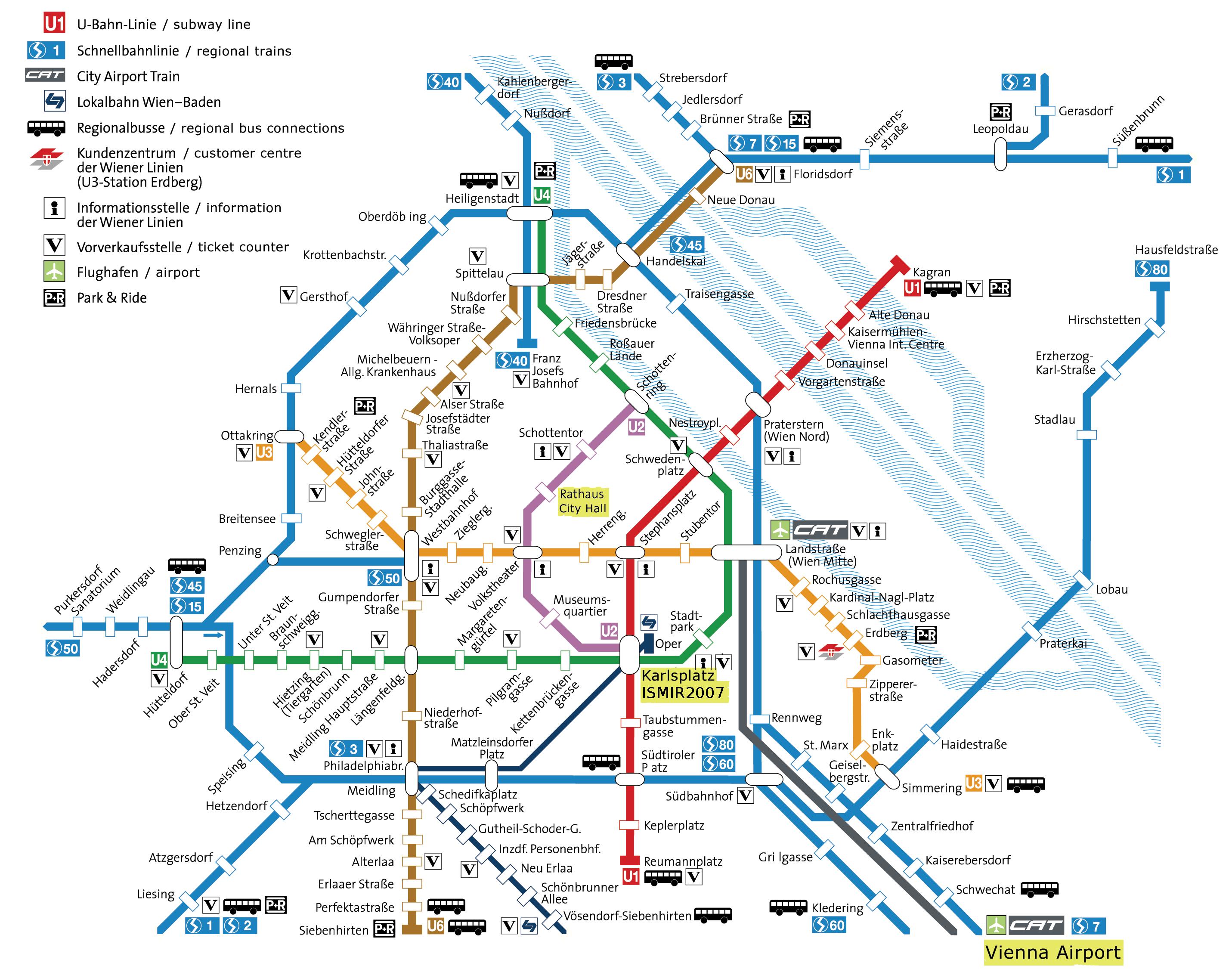 Схема метро вены с достопримечательностями на русском языке