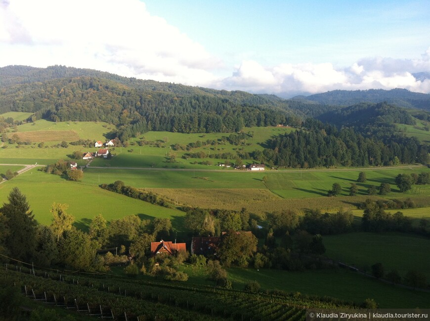 Вид с крепости на долину и виноградники.